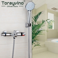 RU STOCK Bathroom Contemporary Wall Mounted Thermostatic Faucets Polished Chrome Mixer Tap Shower Set Rain Bathtub
