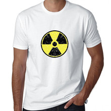 Mens Graphic Tees O-Neck Cotton Short Sleeve Nuclear Radioactive Radiation Symbol Shirts For Men