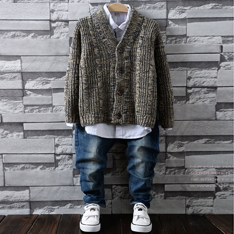2017 Autumn Winter New Knitted cardigan boy Kids Sweater Children Clothing Baby Long sleeve warm Boys Pullover autumn winter baby hats new fashion children warm ball hat double color boys and girls cotton caps beanies baby knitted hat