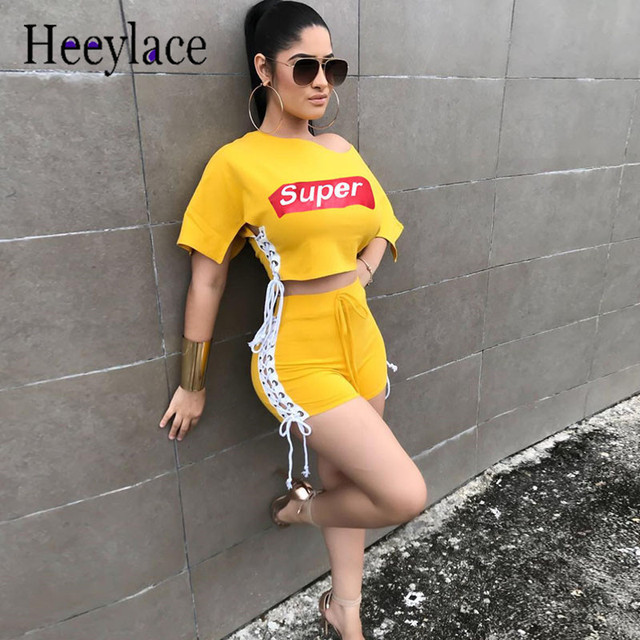 Short Sets For Women Letter Two Piece Set Ribbons Lace Up Side Casual Outfits Crop Top And Shorts Sets Yellow Bodysuit Summer