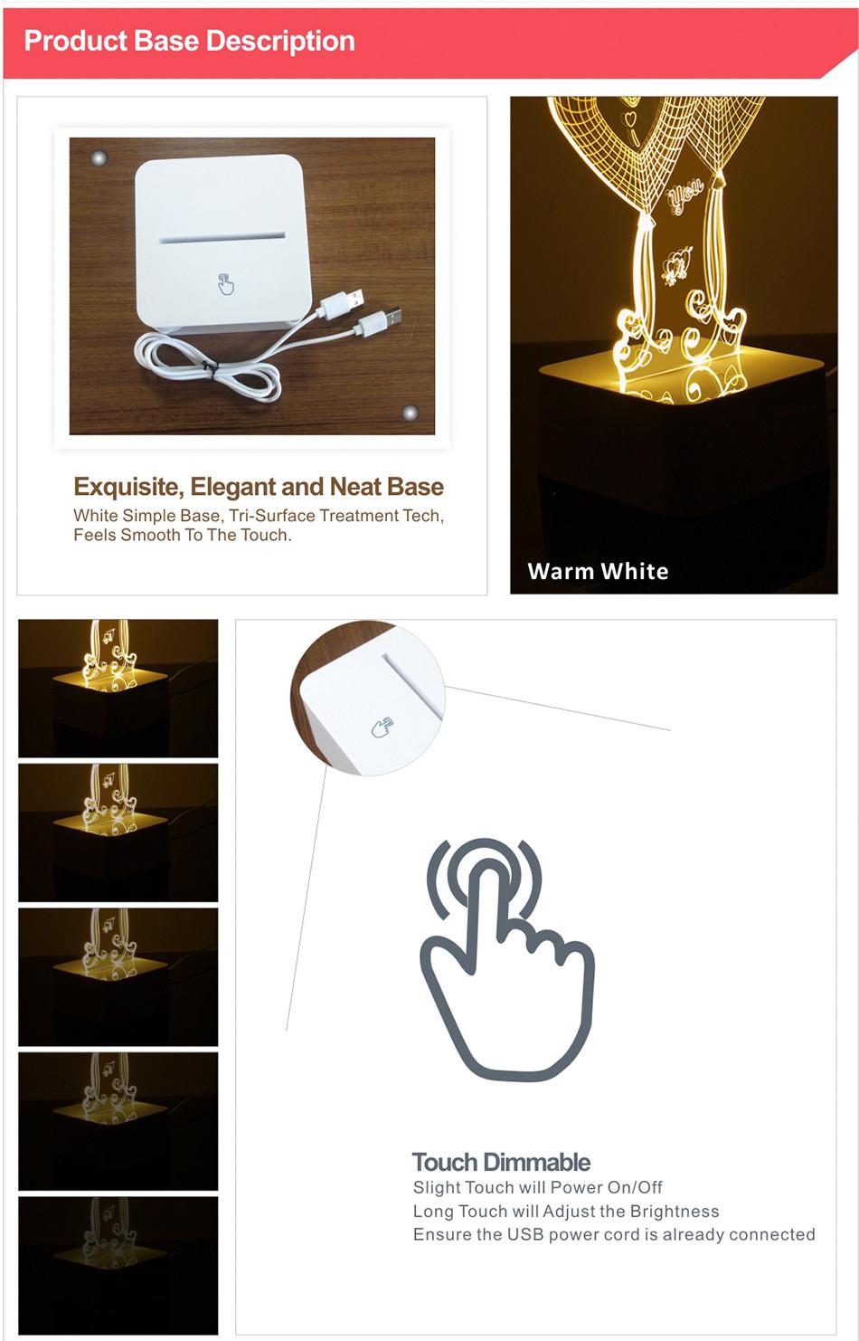 Novel USB Led Lights Loving Heart 3d Touch Home Decor Table Lamp (7)