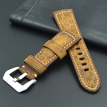 Upscale Handmade leather watch strap 20mm 22mm 24mm 26mm personality Vintage Wild Watchband for Men Big watch for IWC PAM Casio