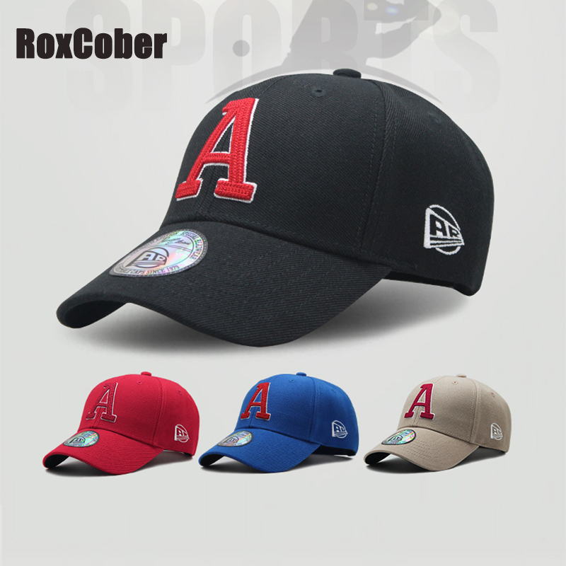 RoxCober High Quality unisex sports leisure embroidery A Letter Golf Baseball Caps Snapback Caps Adjustable Hip-hop hat Sun Hats