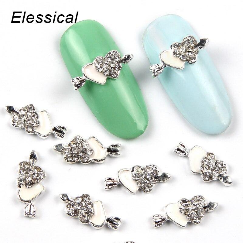 ELESSICAL 10Pcs Lot Silver Double Piercing Hearts 3D Nail Art