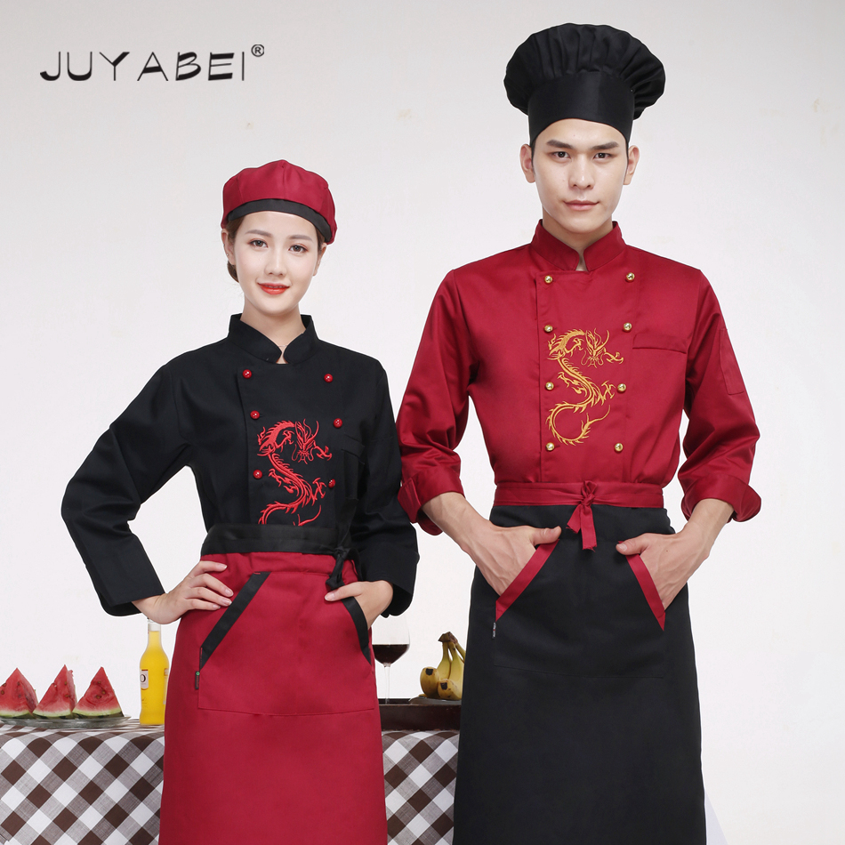 3 Colors Dragon Embroidery Chef Jacket Cooking Wear Chef Service Restaurant Catering Kitchen Chef Workwear Clothing Men Unisex