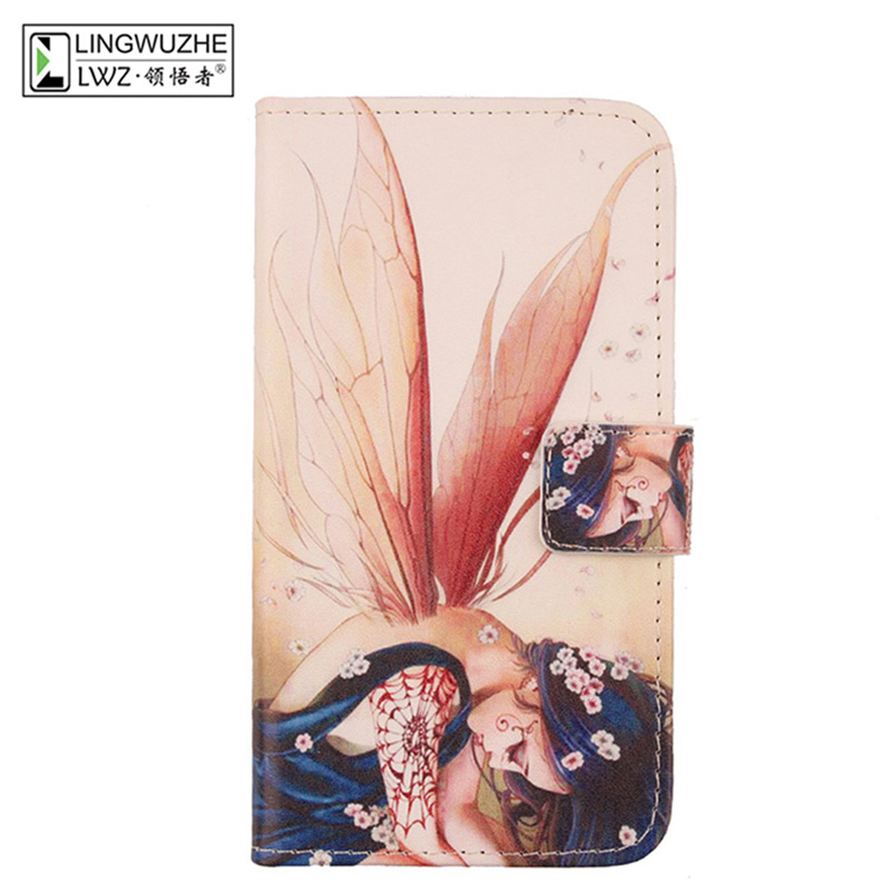 LINGWUZHE Minimalist Style Flip Cell Phone Case PU Leather Cover For Vodafone Mobiwire Kwanita 4