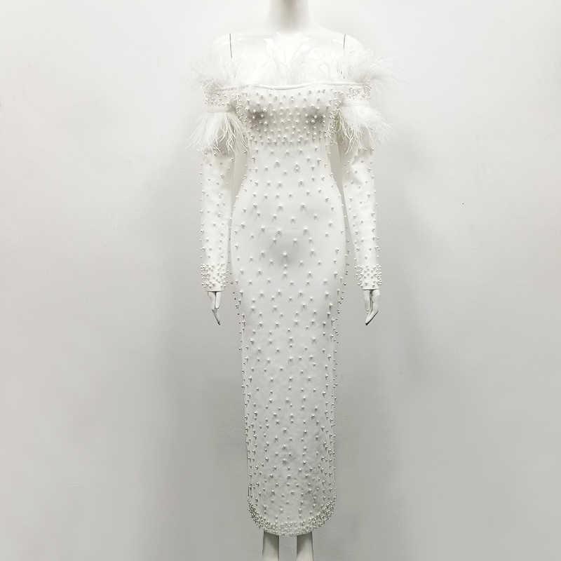 f49c66e93bbc1 Elegant White Beading Maxi Wedding Party Dress Women Off Shoulder Long  Sleeve Bodycobn Feathers Bodycon Dress Vestidos Wholesale