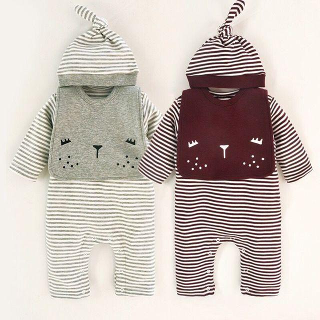 3 6 9M new Spring Baby Romper stripe Romper hat bib Clothing  For Kids boys Children