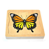 2017 New Product Cartoon Butterfly Growing Wooden Puzzle Intelligence Kids Educational Baby Toys Gift Brain Teaser