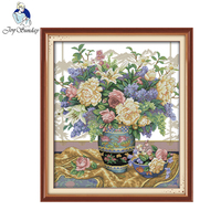 Joy Sunday Oriental Vase Embroidery Floss DMC Cross Stitch In 11CT 14CT DIY Needlework Cross For