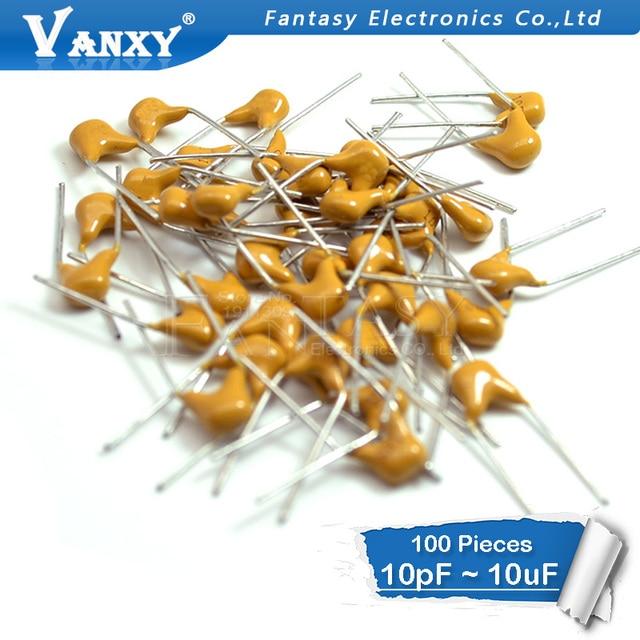 100Pcs 50V monolithic ceramic capacitor 10PF ~ 10UF 22PF 47NF 220NF 1NF 4.7UF 1UF 100NF 330NF 0.1UF 102 104 105 106 103 473 334 6