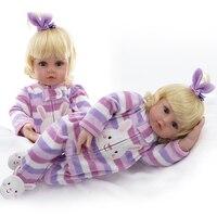 Прекрасные золотые волосы ребенка Куклы 22 дюймов мягкий силиконовый Реалистичная Reborn для маленьких девочек 55 см в полоску Комбинезоны для