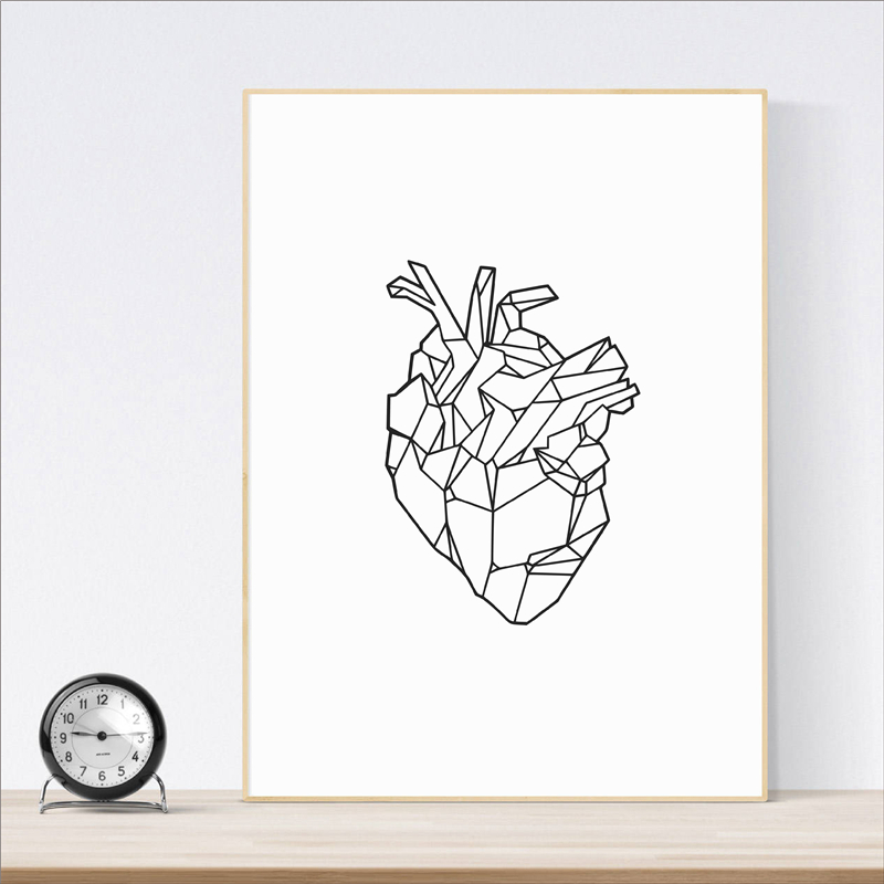 Geometric Heart Art Poster Print Wall Art Medicine Anatomy Heart Canvas Painting Wall Picture For Wall Anatomical Decor