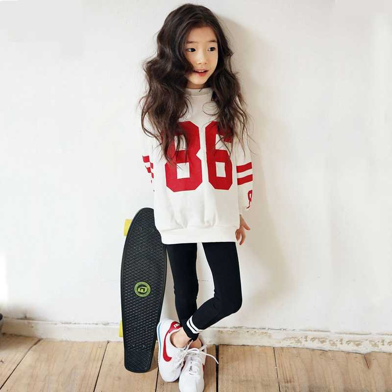 Autumn Children's Sweatshirts For Girls Cotton Sweatshirts Fashion Pullovers Kids Long Sleeve T-shirt Letter Tops Casual Clothes
