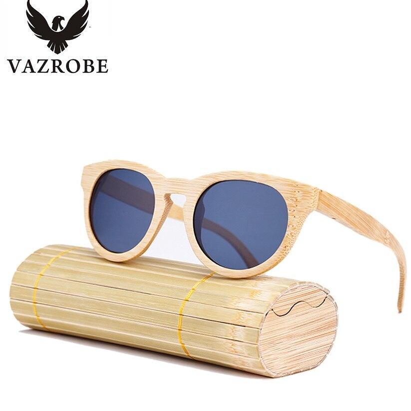 Vazrobe поляризованные бамбуковые солнцезащитные очки Для мужчин Для женщин широкий храм (155 мм) круглый поляризационные солнцезащитные очки д...