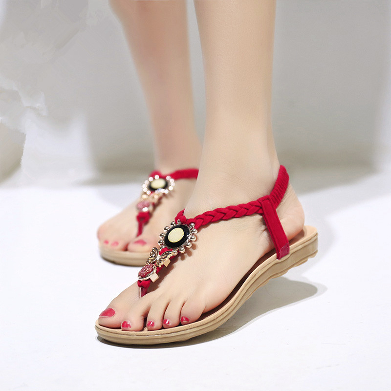 Awesome Flat Sandals Women 2016 Fashion Summer Sandals Women Shoes Rhinestone