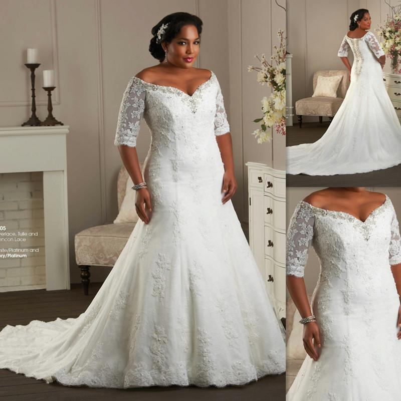 The Shoulder Plus Size Wedding Dresses Half Sleeves Sweetheart ...