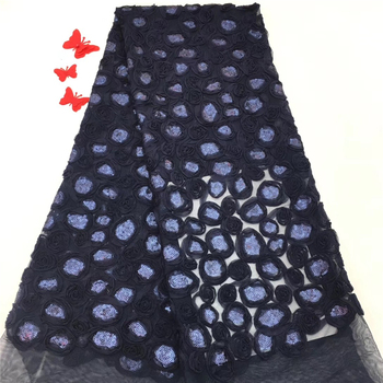 VILLIEA Navy Blue Nigerian Cord Lace Fabric High Quality Net Mesh Lace Guipure Party Dress African Lace Fabric With Sequins