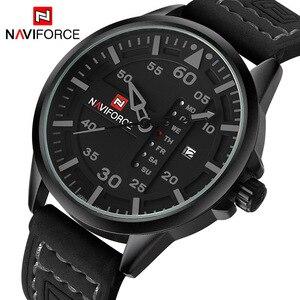 Image 1 - NAVIFORCE Luxury Brand Men Army Military Watches Mens Quartz Date Clock Man Leather Strap Sports Wrist Watch Relogio Masculino