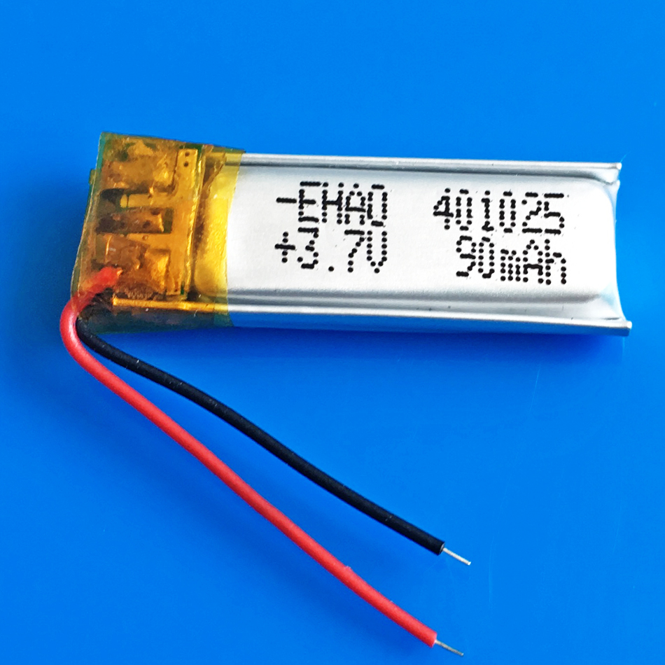3.7V 90mAh <font><b>401025</b></font> li-po lithium polymer rechargeable battery for MP3 MP4 MP5 GPS bluetooth headset video pen digital productors image