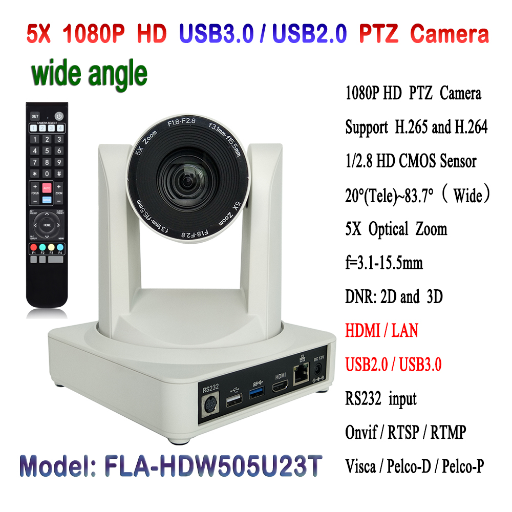 High performance 2MP USB2.0 USB3.0 1080p 60fps video full HD PTZ Video Conference IP Camera 5x Zoom With HDMI Output image