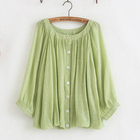 Vintage Retro Boho Blusa Mujer Camisas Femininas Chemise Femme Candy Color Cotton Linen Loose Blouse Women