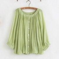 Vintage Retro Boho Blusa Mujer Camisas Femininas Chemise Femme Candy Color Cotton Linen Loose Blouse Women