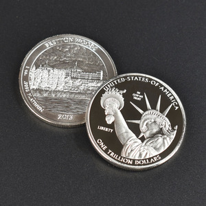 1 Trillion Dollar Gold silver plated United States Collection Metal Coin(China)