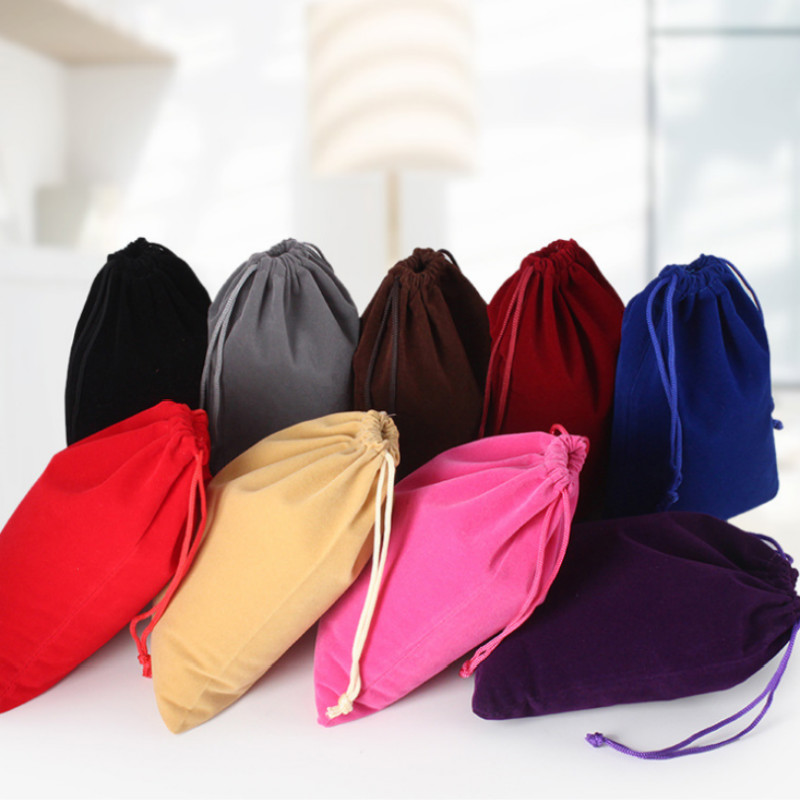 5Pcs set 9 12cm Velvet Drawstring Pouch Bracelet Candy Jewelry Packaging Bags Gift Bag