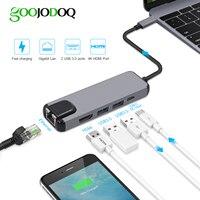 5 em 1 USB Tipo C Hdmi Hub USB Hub C para Rj45 Gigabit Ethernet Adapter Lan para Macbook Pro Raio 3 USB-C Carregador porta