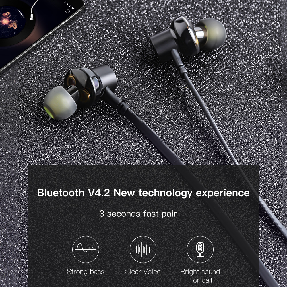 AWEI G20BL Bluetooth Earphone Wireless Headphone Neckband Headset Earpiece Dual Driver Earphone For Phone Casque Auriculares 4