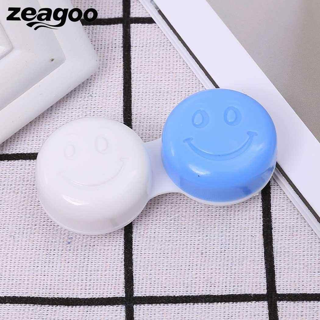 Zeagoo ABS Small Cute Smile Face Contact Lenses Case For Women Men New Multi-color Folding Box container Cute Smile Travel kit