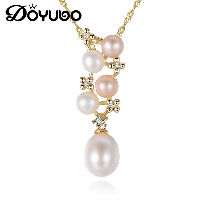 DOYUBO Luxury Women's Freshwater Drop Pearl Pendant Necklace Gold Color Real Sterling Silver Retangle Colorful Pearl Chain VA255