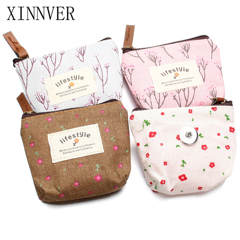 NEW 4Models Floral Life Snap Bag Mini 10CM Canvas Hand Coin Purse Wallet Pouch Fit 18MM Snap Button Jewelry For Women Bracelet