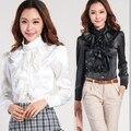 Black,White Women Blouse! 2016 New Formal Ruffle Collar Women Office Shirt Long Sleeve Elegant Lady Blouse Top Work Wear Blusas