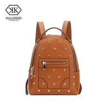 Kuluosidi Лидер продаж Модный школьный рюкзак Для женщин Дамы обратно мешок большой Ёмкость путешествия школа мешок для Обувь для девочек Роскошные заклепки Bagpack