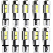 10Pcs T10 LED 6500K car W5W 194 LED 10-SMD T10 5630 lamp size error no driving light цена