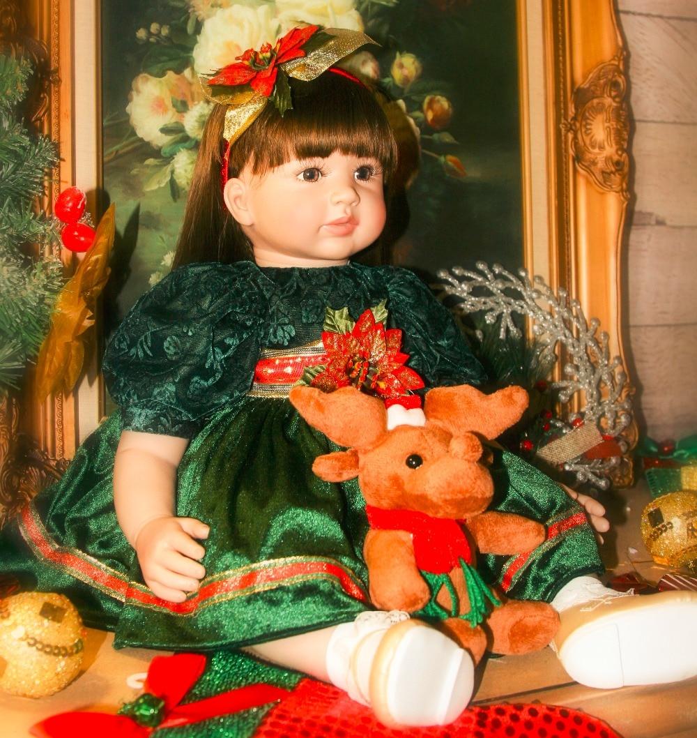 Каштановые волосы Силиконовые винил для новорожденных, для девочек куклы 60 см bebes кукла трансфер до reborn bonecas мягкий Детский наряд для дня Рож...