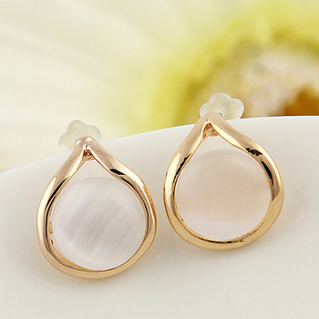 Women Waterdrop Stud Earrings Gold Opal Charm Earring Fashion Beads Statement Ladies Ear Jewelry Accessories image