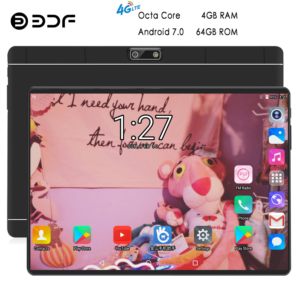 BDF New 10 Inch Original Design 4G Phone Call Android 7.0 Octa Core 4GB+64GB Android Tablet Pc WiFi Bluetooth IPS Tablets 10.1