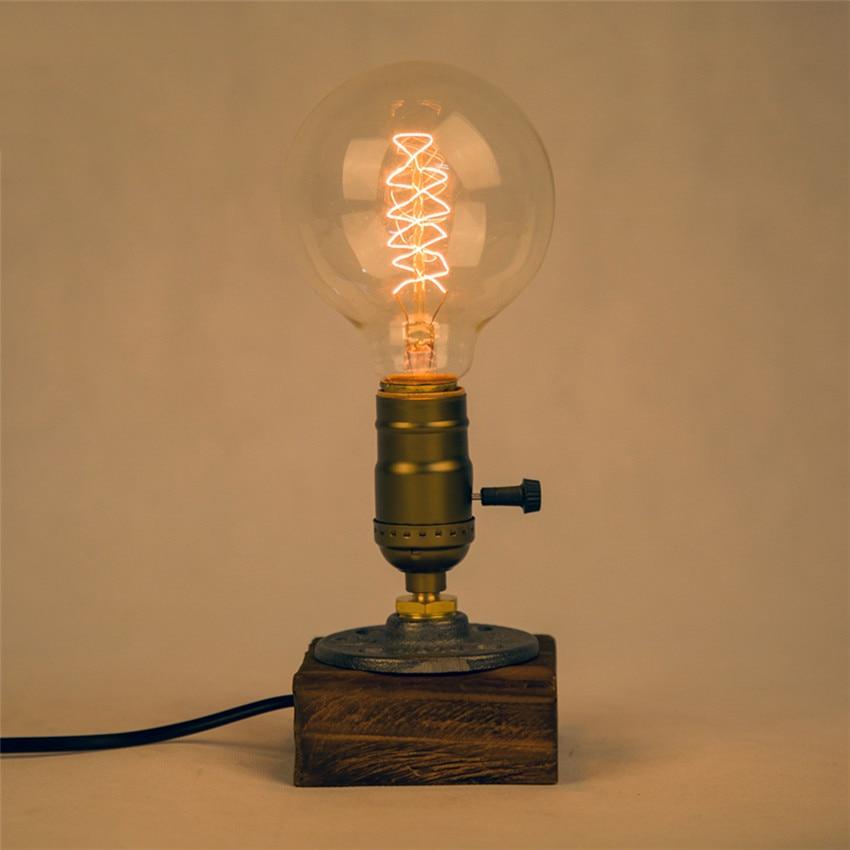 Industrial Vintage Edison Wooden Base Desk Lamp Socket