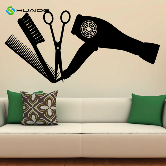 Hair salon tools wall decal vinyl stickers hairdressing for Stickers salon design
