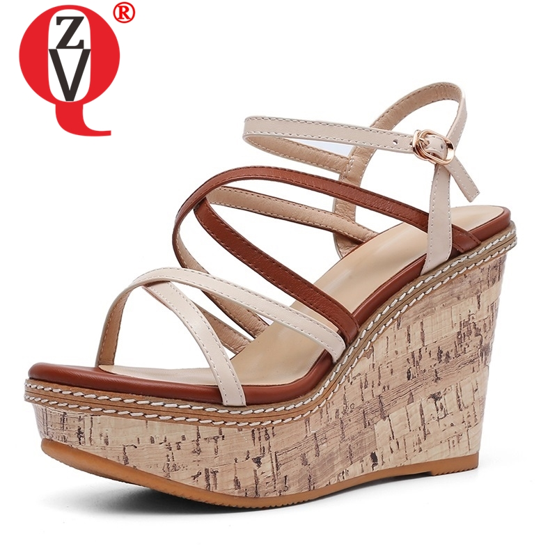 ZVQ shoes woman summer new fashion mixed colors genuine leather woman sandlas outside super high wedges