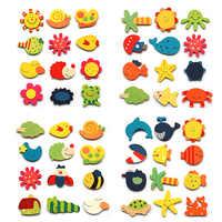 Aléatoire 12 pièces coréen dessin animé en bois mignon réfrigérateur aimant jouets pour enfants jouets éducatifs