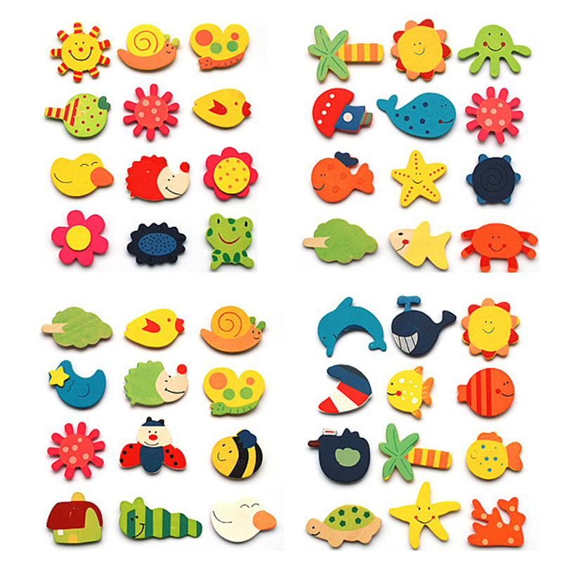 Random 12 Pcs Korean Cartoon Wooden Cute Fridge Magnet Toys  For Children Educational Toys