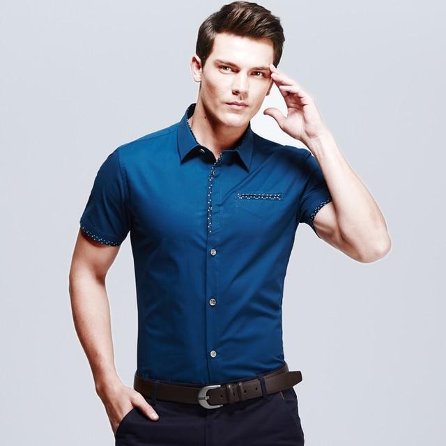 Camisa Men Shirt Office Dress Shirts Cotton Short Sleeve Blue Business Masculina Print Brand New