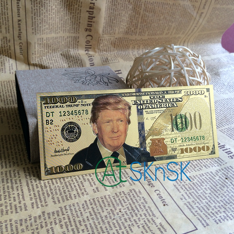Big Sale Colorful Double Design President Donald Trump Money Dollar Bill USD $1000 America Gold Plated Bank Note Colletion image