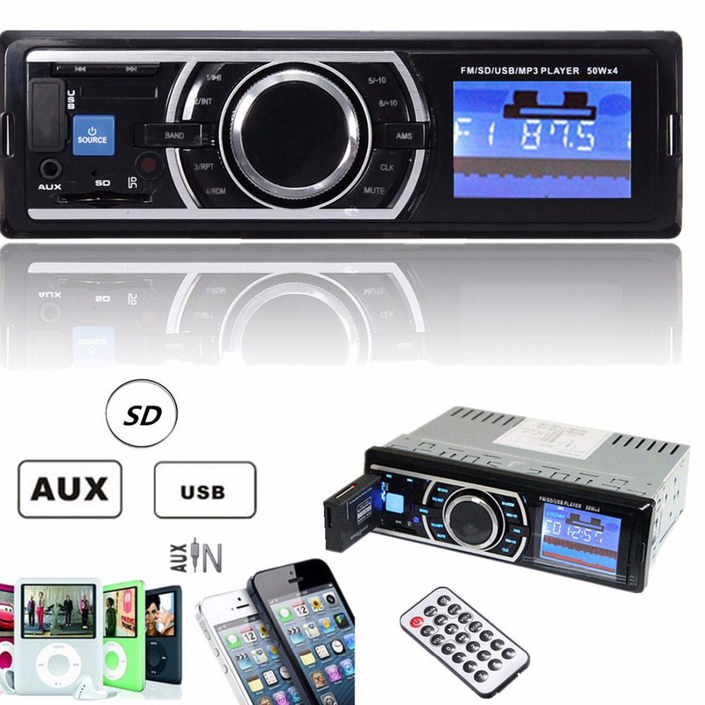 50W x 4CH Auto Radio Car Stereo 12V Audio In-Dash Aux Input Receiver with SD USB MP3 FM Player