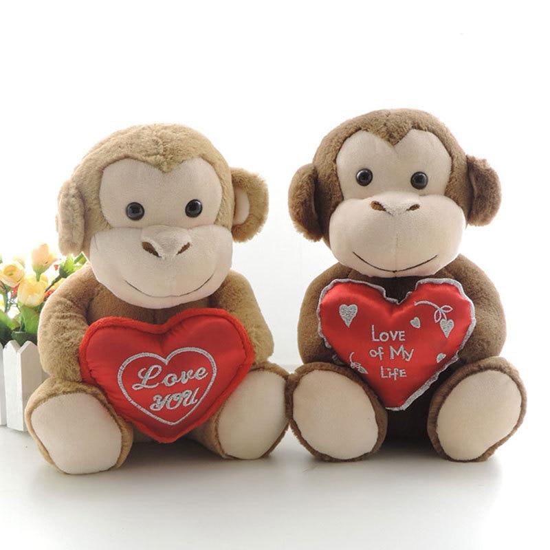 25CM Lovely Monkey Plush Toy Stuffed Animals LOVE HEART ...