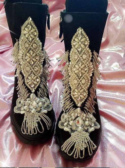 Luxury handmade beaded crystal gem tassel heavy work muffin thick-bottomed Martin boots after the banding star Luxury handmade beaded crystal gem tassel heavy work muffin thick-bottomed Martin boots after the banding star